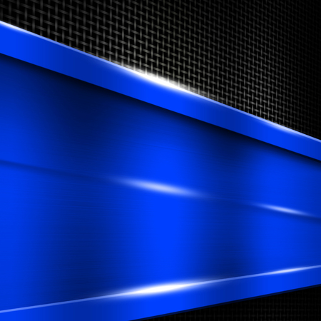 blue metal frame on black metallic mesh. metal background. 3d illustration.