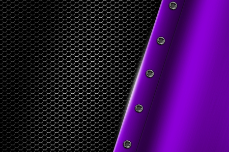 purple metal: purple metal background with rivet on gray metallic mesh. background and texture 3d illustration.