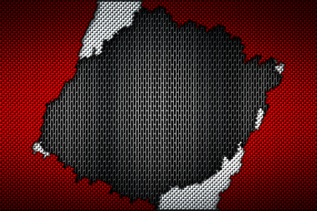 red and white carbon fiber tear on the black metallic mesh. background and texture. 3d illustration. Stock Photo