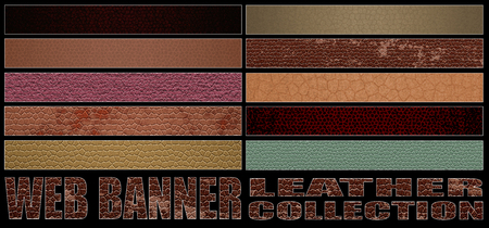 texture leather: set 8. full web banner leather collection. standard size for full banner or leaderboard. 3d illustration with real texture.