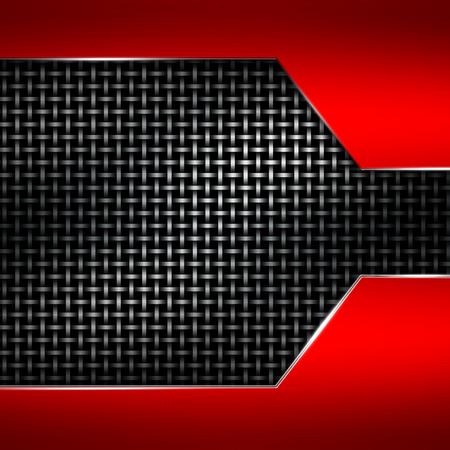 red metal: red metal frame on black metallic mesh. metal background. 3d illustration.