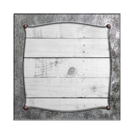rustic wood: set 8. metal frame on white rustic wood. isolated white background. 3d illustration. vintage signboard.