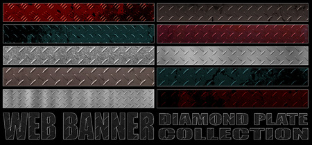 diamondplate: set 8. full web banner diamond metal plate collection. standard size for full banner or leaderboard. 3d illustration with real texture.