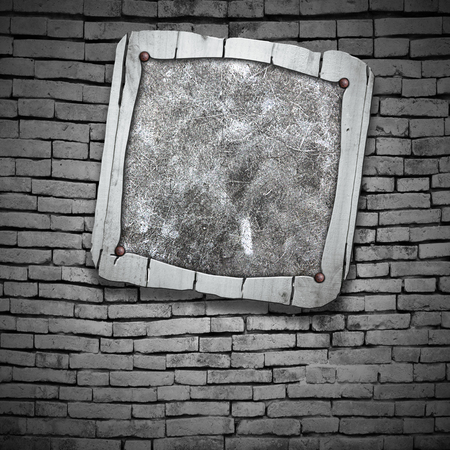 rustic wood: set 8. rustic wood frame on brick wall. 3d illustration background. Stock Photo