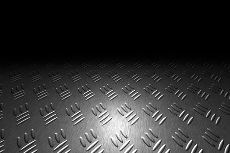 diamondplate: monochrome diamond plate with lighting and drop of paint on black shadow background. Stock Photo