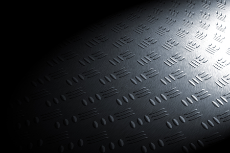 diamondplate: monochrome curve diamond plate in spot lighting, background and texture.
