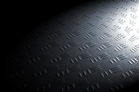 diamondplate: monochrome curve diamond plate in spot lighting, background and texture.