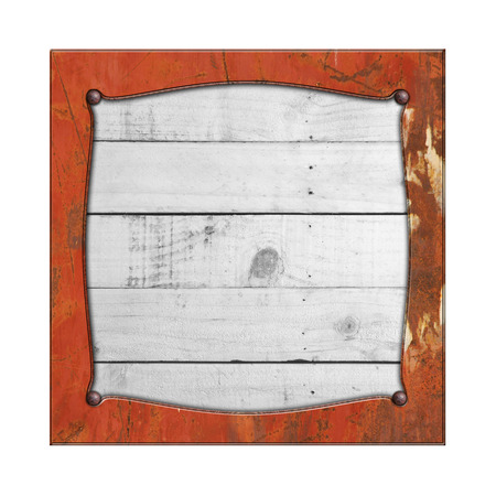 rustic wood: set 8. rusty metal frame on white rustic wood. isolated white background. 3d illustration. vintage signboard.