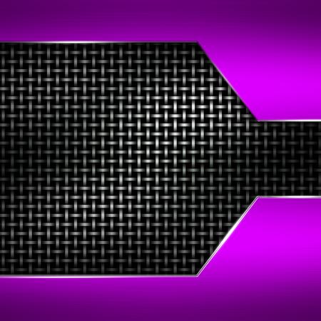 purple metal: purple metal frame on black metallic mesh. metal background. 3d illustration.
