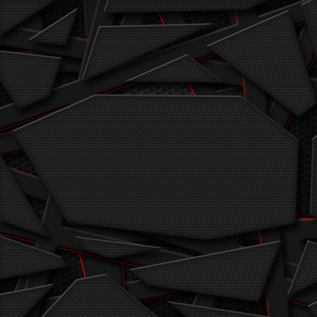 red wallpaper: set 8. gray and orange frame on black carbon fiber mesh. metal background and texture. 3d illustration. Stock Photo
