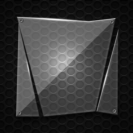 shattered glass: set 8. shattered glass on black metallic mesh wall. 3d illustration background.