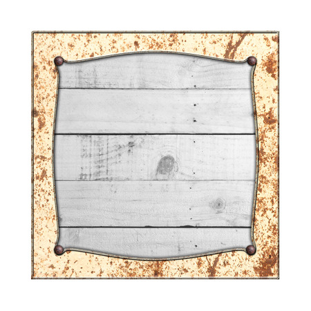 rustic wood: rusty metal frame on white rustic wood. isolated white background. 3d illustration. vintage signboard.