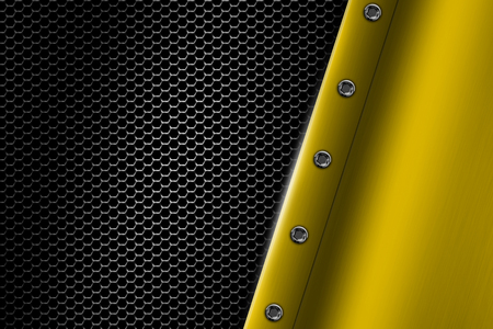 yellow metal background with rivet on gray metallic mesh. background and texture 3d illustration. Stock Photo