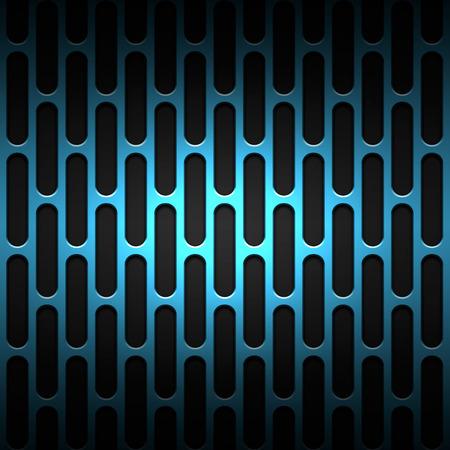 metal black: blue carbon fiber mesh on black metal plate. background and texture. 3d illustration.