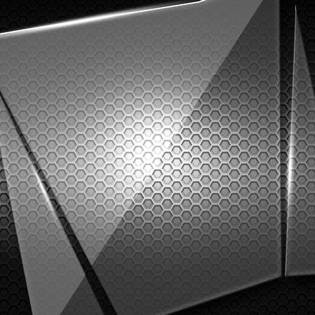 shattered glass: shattered glass on black metallic mesh wall. 3d illustration background.