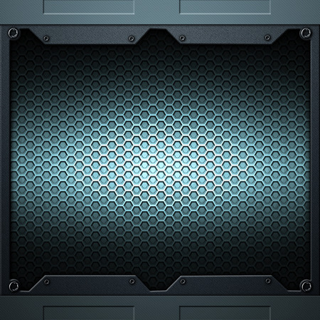 rivet metal: scifi wall. carbon fiber wall and rivet. metal background and texture 3d illustration. technology concept. Stock Photo