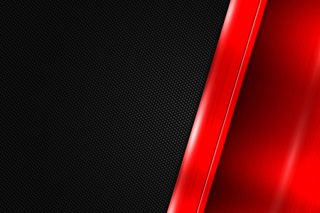 metal black: red and black  carbon fiber. metal background and texture. 3d illustration. Stock Photo