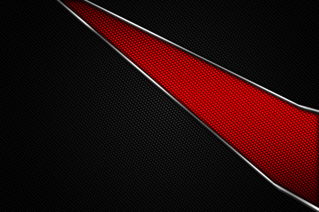 set 9. red and black chrome carbon fiber. metal background and texture. 3d illustration.