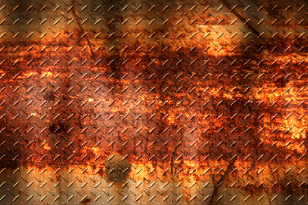ironworks: grunge diamond plate. dirty rust metal background and texture. 3d illustration.