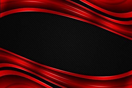 赤と黒のクロム炭素繊維。金属の背景のテクスチャ。3 d イラスト。