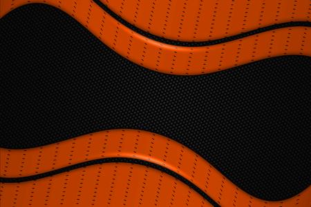 dark fiber: orange and black chrome carbon fiber. metal background and texture. 3d illustration.