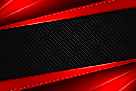 red metal: red and black chrome carbon fiber. metal background and texture. 3d illustration.