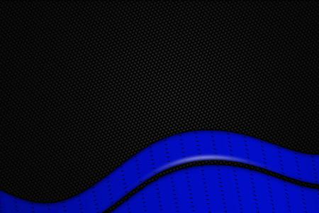 dark fiber: blue and black chrome carbon fiber. metal background and texture. 3d illustration.