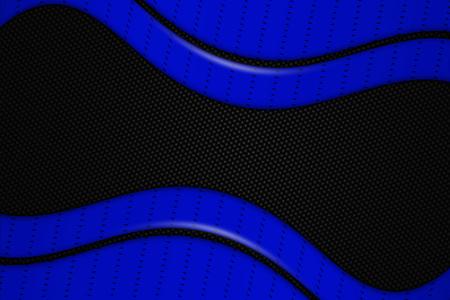 blue and black chrome carbon fiber. metal background and texture. 3d illustration.