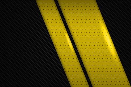 dark fiber: yellow and black chrome carbon fiber. metal background and texture. 3d illustration.
