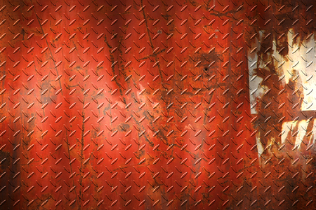 diamondplate: grunge diamond plate. dirty rust metal background and texture. 3d illustration.
