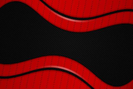 dark fiber: red and black chrome carbon fiber. metal background and texture. 3d illustration.