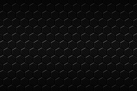 dark fiber: black carbon fiber hexagon pattern. background and texture. 3d illustration. Stock Photo