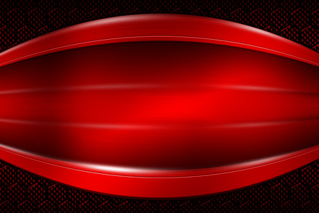 red banner on red carbon fiber hexagon. background and texture. 3d illustration.