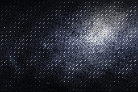 grunge diamond plate. dirty black metal background and texture. 3d illustration.