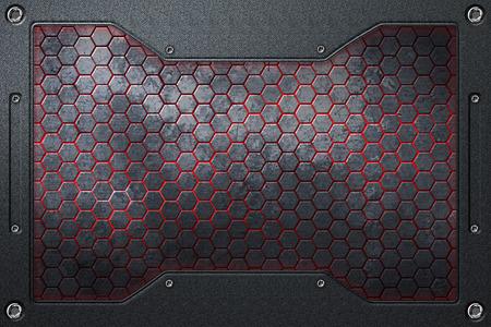 金属製のフレームと黒と赤の六角形の背景。3 d イラスト。 写真素材
