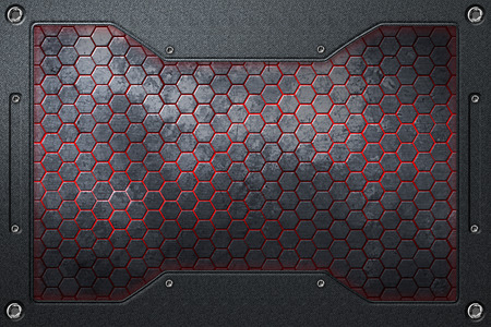 black and red hexagon background with metal frame. 3d illustration.