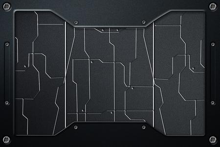 dark fiber: scifi panel background with metal frame. 3d illustration. Stock Photo