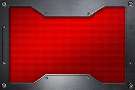 dark fiber: red carbon fiber background with metal frame. 3d illustration.