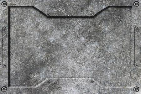 chromel background with metal frame. 3d illustration. Banque d'images