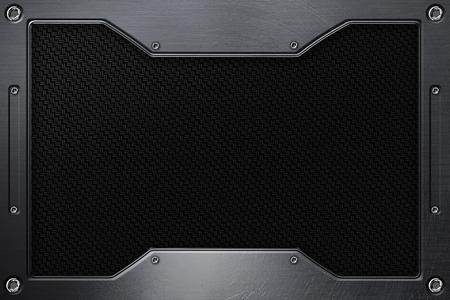 black carbon fiber background with metal frame. 3d illustration.