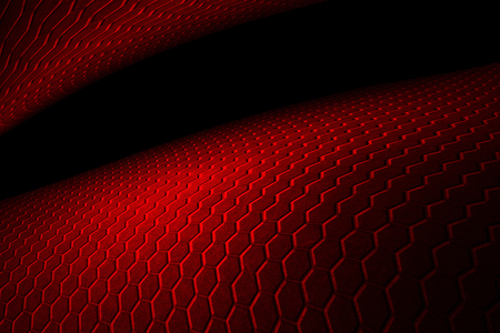 red hexagon background with real texture. perspective design. 3d illustration.