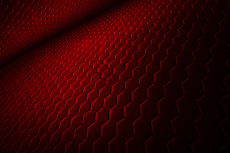 dark fiber: red hexagon background with real texture. perspective design. 3d illustration.