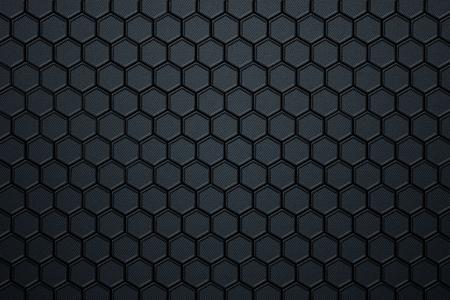 blue carbon fiber hexagon pattern. background and texture. 3d illustration.