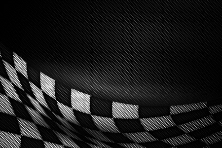 metal mesh: white and black carbon fiber background. checkered pattern. 3d illustration material design. sport racing style. Stock Photo