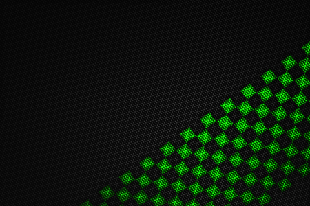 metal mesh: green and black carbon fiber background. checkered pattern. 3d illustration material design. sport racing style.