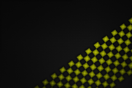 yellow and black carbon fiber background. checkered pattern. 3d illustration material design. sport racing style.
