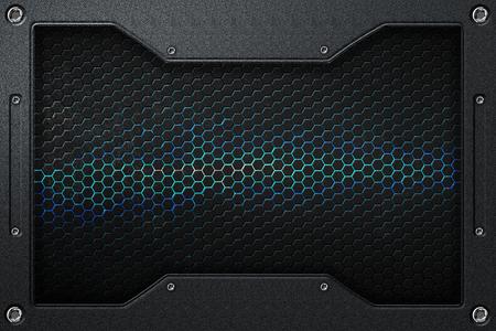 dark fiber: black and blue hexagon background with metal frame. 3d illustration. Stock Photo