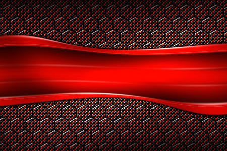 red banner on black carbon fiber hexagon. background and texture. 3d illustration.