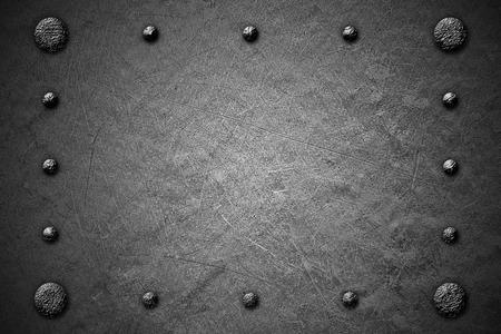 alloy: black and white grunge metal background. rivet on metal plate. material design 3d illustration.