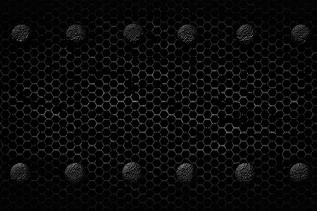 grille: black and white grunge mesh background. rivet on metal plate. material design 3d illustration.